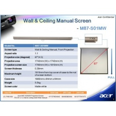 "ACER Projekční plátno M87-S01MW, 70x70"" Wall & Ceiling Matt White, Manual Projection Screen"