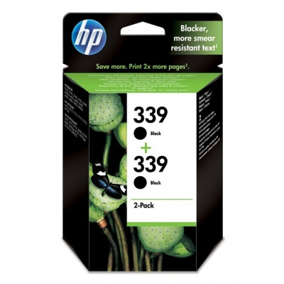 HP 339 Black Ink Cart 2-pack, 2 x 21 ml, C9504EE