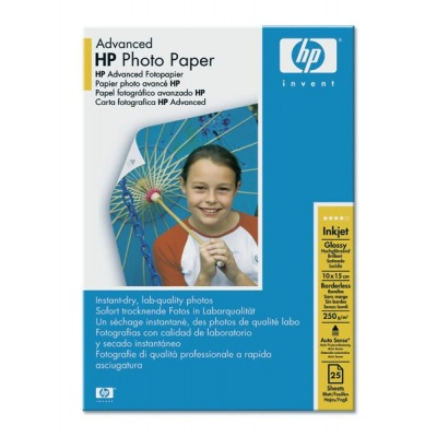 HP Advanced Glossy Photo Paper-25 sht/10 x 15 cm borderless, 250 g/m2, Q8691A