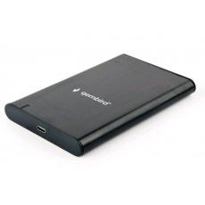 """GEMBIRD externí box pro 2,5"""" disky, USB 3.1, Type-C, broušený hliník, černá"""