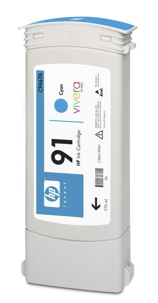 HP 91 Cyan DJ Ink Cart, 775 ml, C9467A