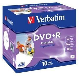 VERBATIM DVD+R(10-Pack)Printable/Jewel/16x/4.7GB