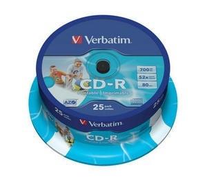 VERBATIM CD-R(25-Pack)Spindle/Printable/52x/700MB/DLP