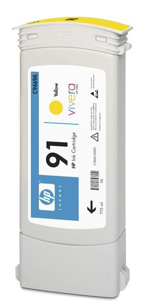 HP 91 Yellow DJ Ink Cart, 775 ml, C9469A