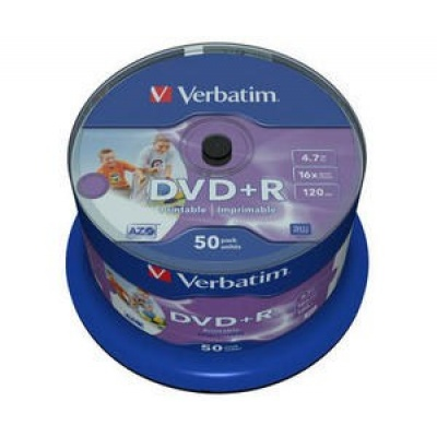 VERBATIM DVD+R(50-Pack)Spindle/Printable/16x/4.7GB/DLP