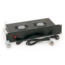 """TRITON 19"""" ventilační jednotka, 2 ventilátory-230V/70W, termostat, černá"""