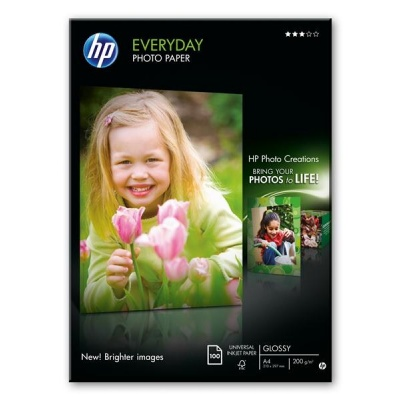 HP Everyday Glossy Photo Paper-100 sht/A4/210 x 297 mm, 200 g/m2, Q2510A