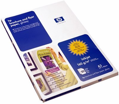 HP Professional Glossy Inkjet Paper-50 sht/A3/297 x 420 mm,  180 g/m2, C6821A