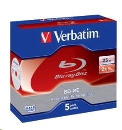 VERBATIM BD-RE(5-pack)Blu-Ray/Jewel/2x/25GB