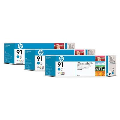 HP 91 Cyan DJ Ink Cart, 775 ml, 3-pack, C9483A
